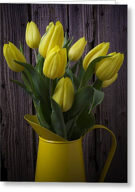 Rain Drop Greeting Cards - Yellow Tulips In Yellow Pitcher Greeting Card by Garry Gay