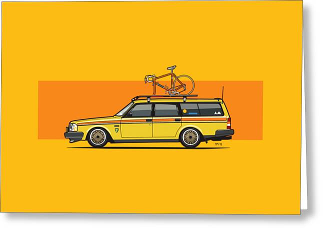 Yellow Volvo 245 Wagon With Roof Rack And Vintage Bicycle Greeting Card by Monkey Crisis On Mars