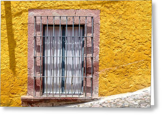 Bar San Miguel Greeting Cards - Yellow Wall with Window on Hill Greeting Card by Douglas J Fisher