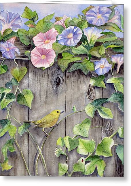 Morning Glories Greeting Cards - Yellow warbler and morning glory Greeting Card by Patricia Pushaw