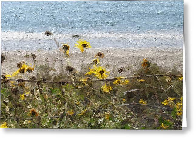 California Mixed Media Greeting Cards - Yellow Wildflowers- Art by Linda Woods Greeting Card by Linda Woods