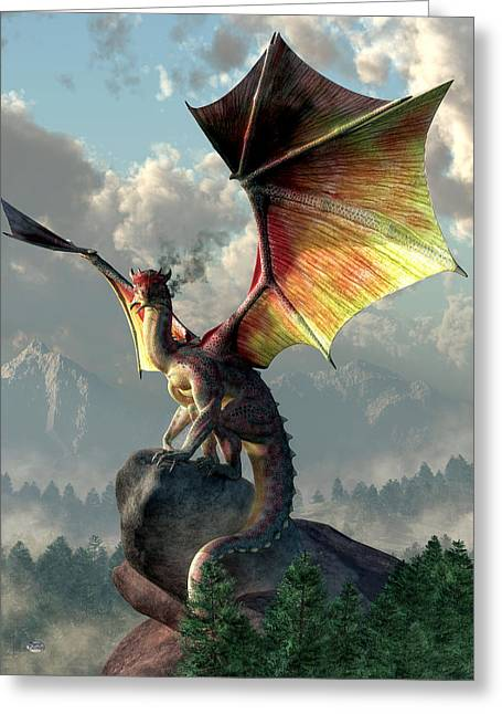 Dungeons Greeting Cards - Yellow Winged Dragon Greeting Card by Daniel Eskridge