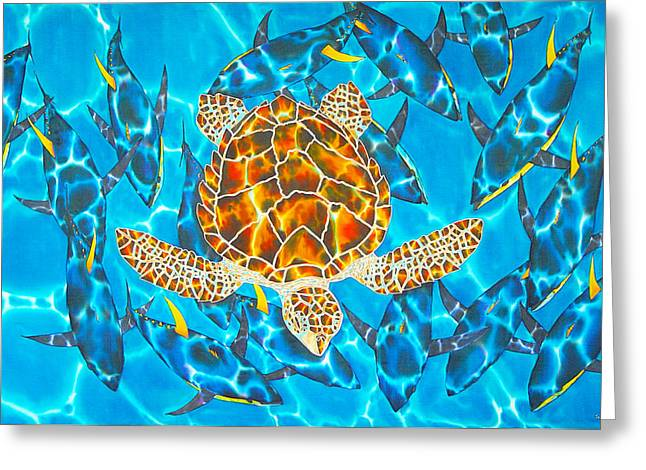 Amphibians Tapestries - Textiles Greeting Cards - Yellowfin Frenzy Greeting Card by Daniel Jean-Baptiste