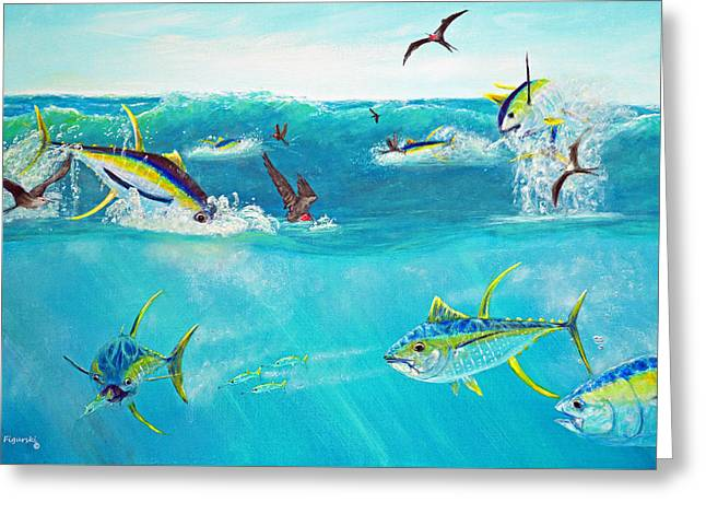 Sea Birds Greeting Cards - Yellowfin Frenzy Greeting Card by Ken Figurski