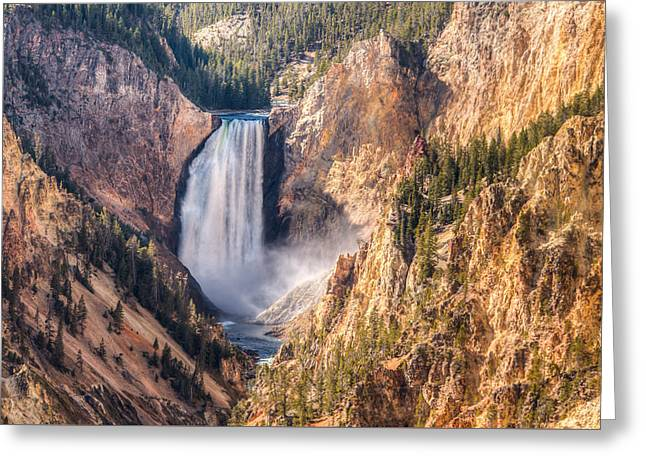 Fall Trees Greeting Cards - Yellowstone Falls Greeting Card by Kristina Rinell