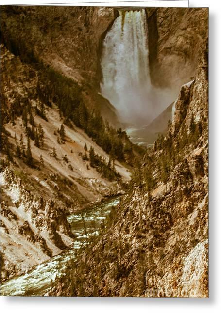Yellowstone Lower Falls Greeting Card by Robert Bales