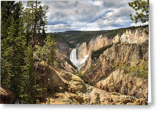 Scenic Waterfall Greeting Cards - Yellowstone National Park Greeting Card by Robert Bales