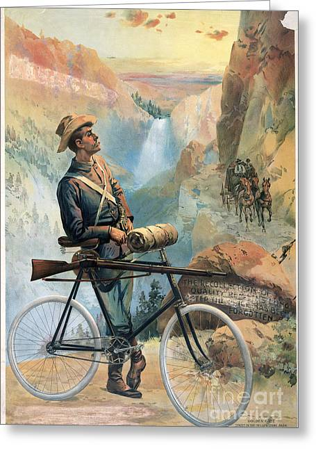 Chromolithograph Greeting Cards - Yellowstone Park: Ranger Greeting Card by Granger
