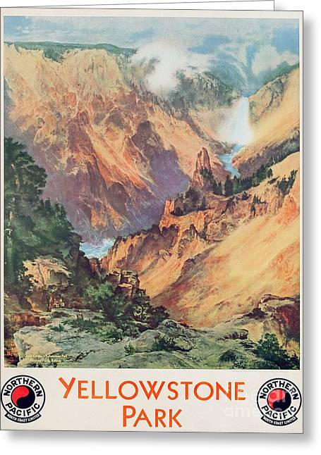 Nature Scene Paintings Greeting Cards - Yellowstone Park Greeting Card by Thomas Moran