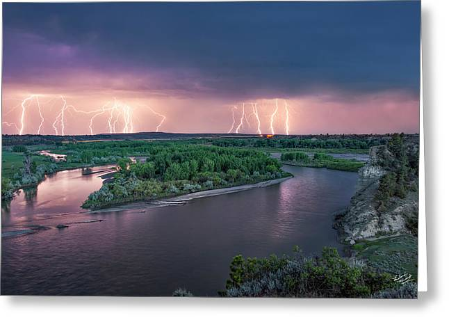 Yellowstone River Lightning Greeting Card by Leland D Howard