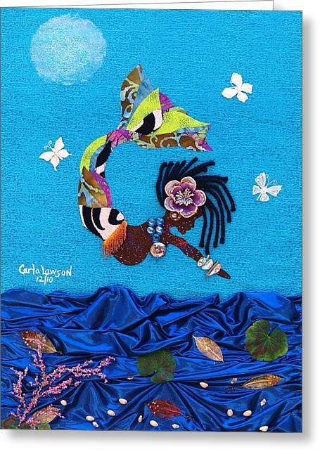Yemaya Greeting Card by Carla J Lawson