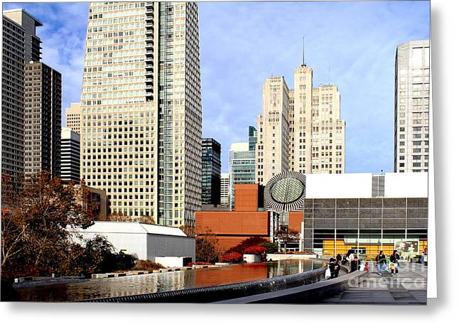 Mario Botta Botta Greeting Cards - Yerba Buena Garden in San Francisco Greeting Card by Wingsdomain Art and Photography