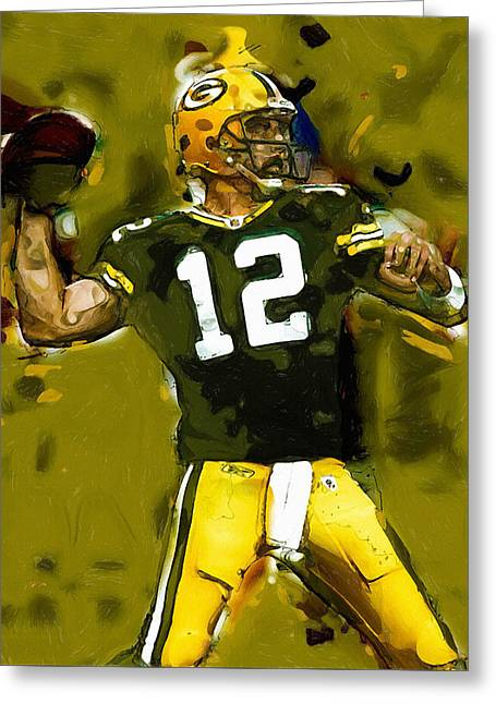 Lambeau Field Paintings Greeting Cards - Yes A Golden Arm Greeting Card by John Farr