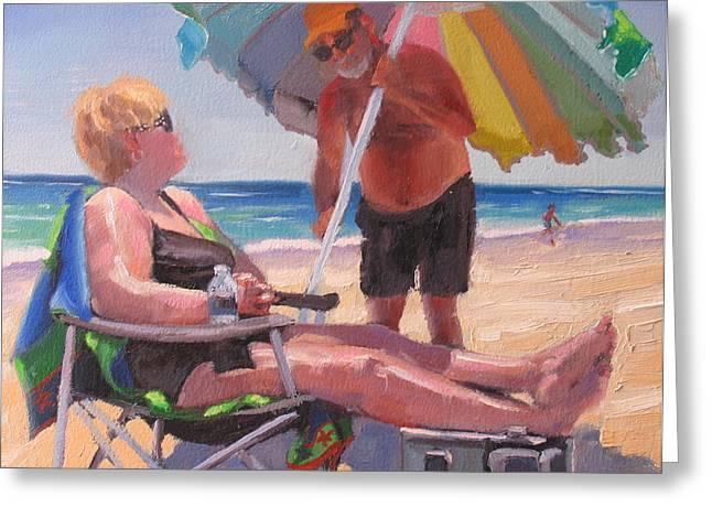 Beach Umbrella Greeting Cards - Yes Dear Greeting Card by Laura Lee Zanghetti