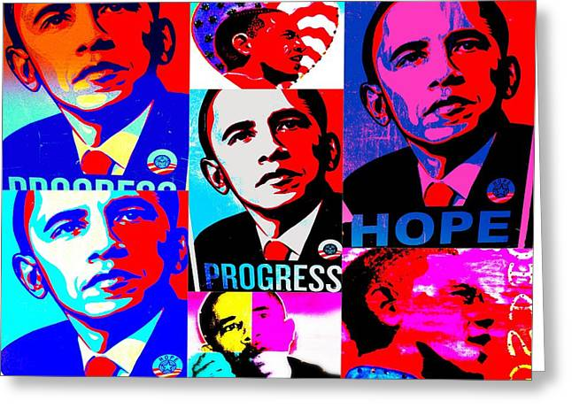 Obama Digital Art Greeting Cards - Yes We Can  Greeting Card by Funkpix Photo Hunter