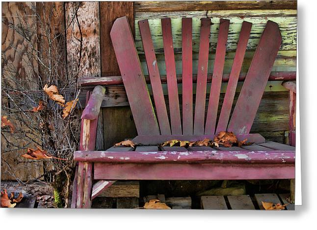 Blank Card Greeting Cards - Yesterdays Chair Greeting Card by Bonnie Bruno