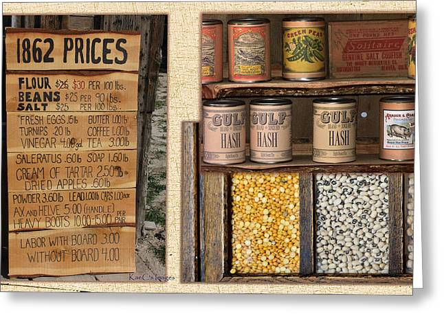 Labelled Greeting Cards - Yesteryear Groceries Greeting Card by Kae Cheatham