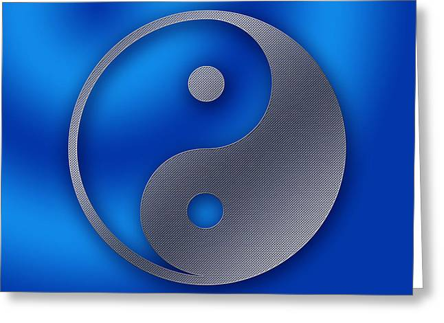 Yin And Yang - Stainless Steel Greeting Card by Liona Toussaint