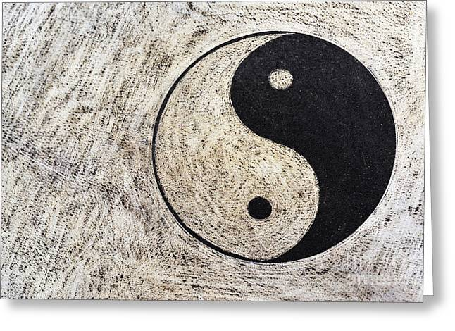 Spirituality Photographs Greeting Cards - Yin and yang symbol on drum Greeting Card by Sami Sarkis