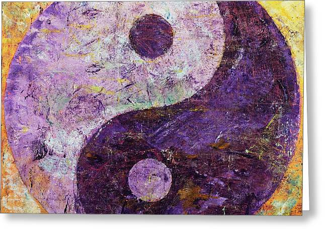 Contemporary Symbolism Greeting Cards - Purple Yin Yang Greeting Card by Michael Creese