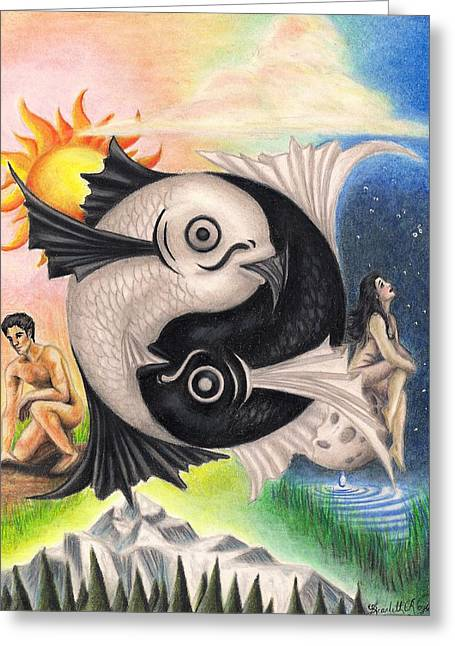 Star Fish Drawings Greeting Cards - Yin-Yang Greeting Card by Scarlett Royal