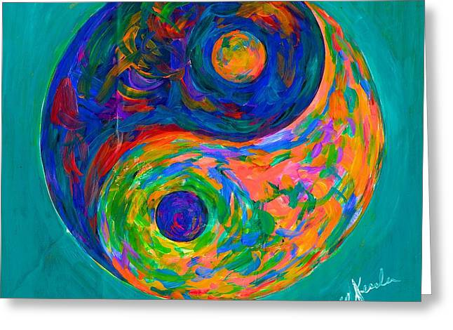 Blue And Green Greeting Cards - Yin Yang Spin Greeting Card by Kendall Kessler