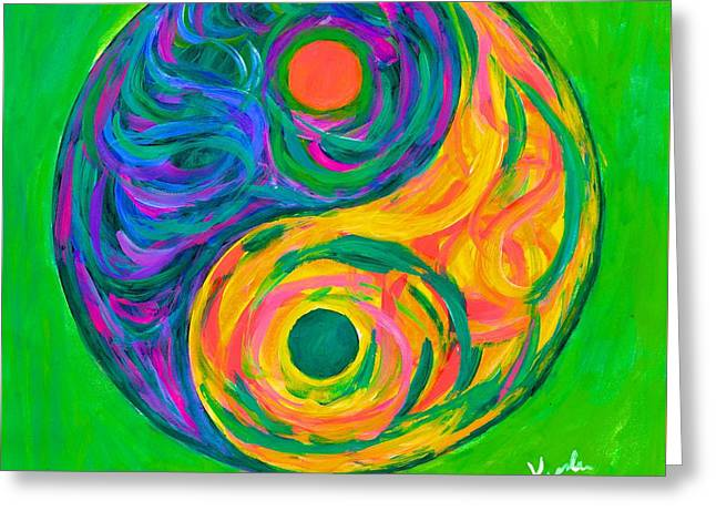Yang Greeting Cards - Yin Yang Spring Greeting Card by Kendall Kessler