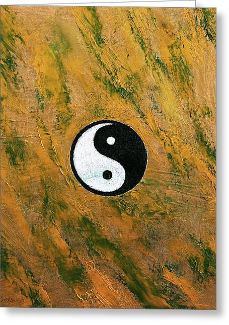 Contemporary Symbolism Greeting Cards - Yin Yang Stone Greeting Card by Michael Creese