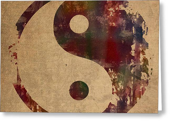 Yin Yang Symbol Distressed Grunge Watercolor Painting On Worn Canvas Greeting Card by Design Turnpike