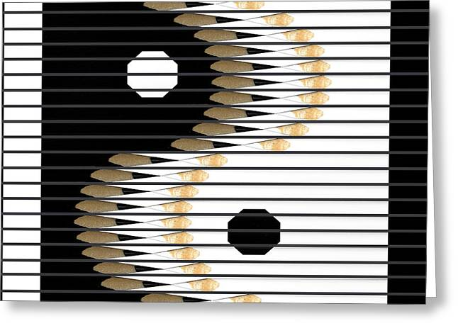 Pencil Greeting Cards - Yin Yang Greeting Card by Udo Dittmann