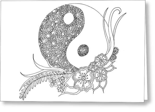 Ying Drawings Greeting Cards - Ying Yang Greeting Card by Asma Emambux