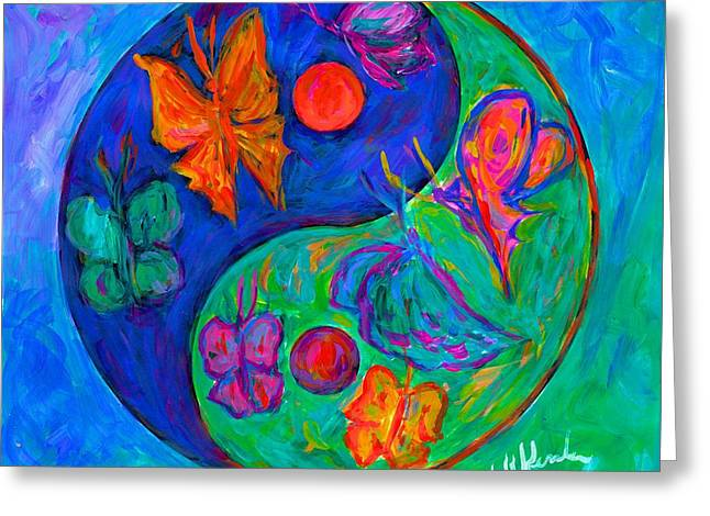 Green And Yellow Abstract Greeting Cards - Ying Yang Butterfly Greeting Card by Kendall Kessler