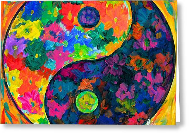 Yang Greeting Cards - Ying Yang Flower Greeting Card by Kendall Kessler