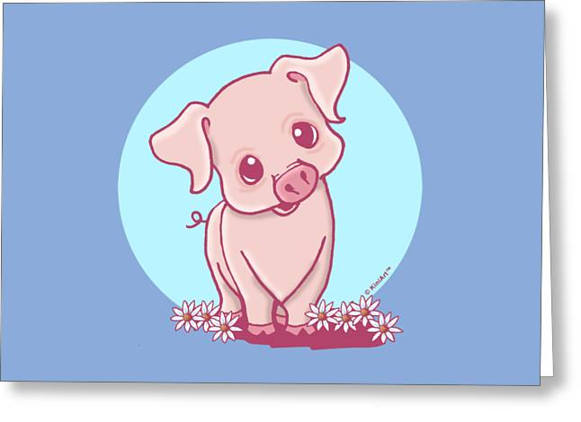 Kim Drawings Greeting Cards - Yittle Piggy Greeting Card by Kim Niles