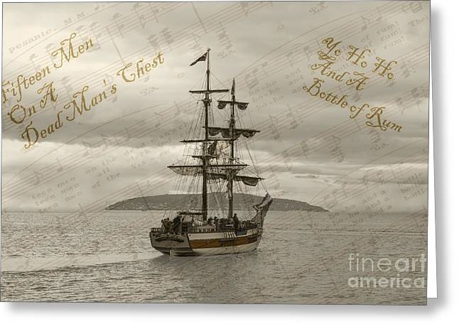 Yo Ho Ho And A Bottle Of Rum Greeting Card by Sandra Cockayne
