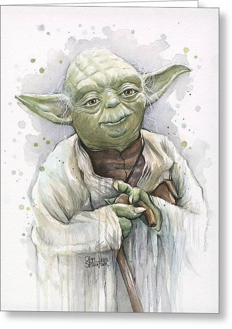 War Art Greeting Cards - Yoda Greeting Card by Olga Shvartsur