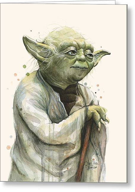 Star Mixed Media Greeting Cards - Yoda Portrait Greeting Card by Olga Shvartsur