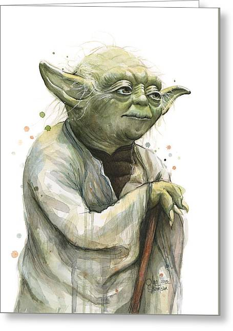 Shows Greeting Cards - Yoda Watercolor Greeting Card by Olga Shvartsur