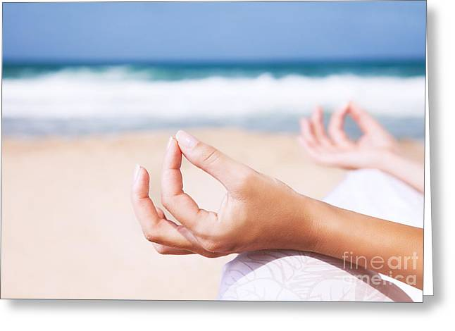 Person Greeting Cards - Yoga and zen balance concept Greeting Card by Anna Omelchenko