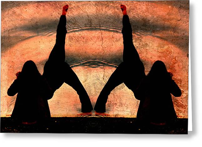 Yoga Art Split Your Body Apart Greeting Card by Robert Frank Gabriel
