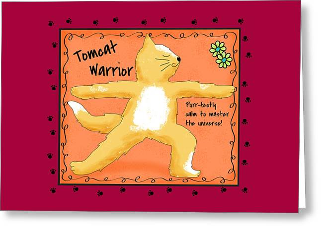 Gold Lime Green Greeting Cards - Yoga Cat Tomcat Warrior Greeting Card by Phyllis Dobbs