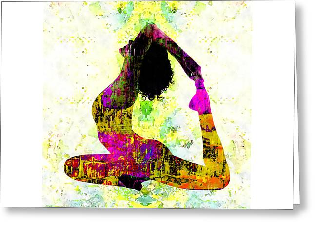 Yoga - One-legged King Pigeon Pose Greeting Card by Stacey Chiew