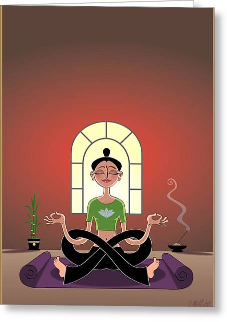 Meditation Digital Greeting Cards - Yoga Pretzel Greeting Card by Cristina McAllister