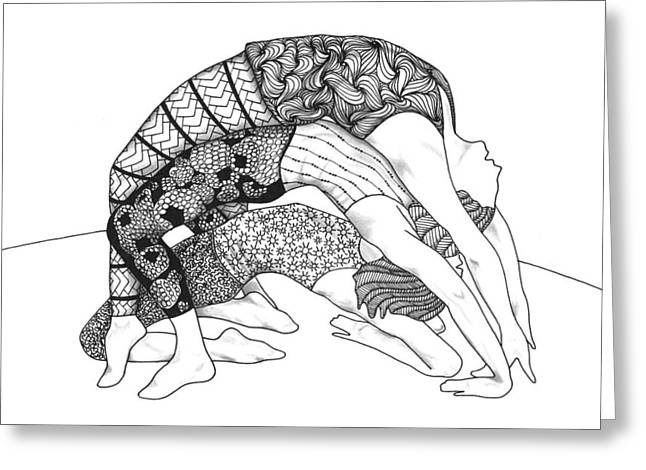 Recently Sold -  - White Drawings Greeting Cards - Yoga Sandwich Greeting Card by The Sandwich  Woman