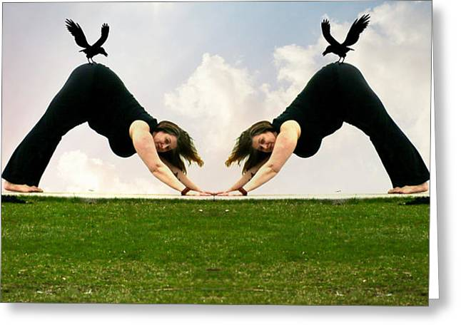Yoga Twins Greeting Card by Robert Frank Gabriel