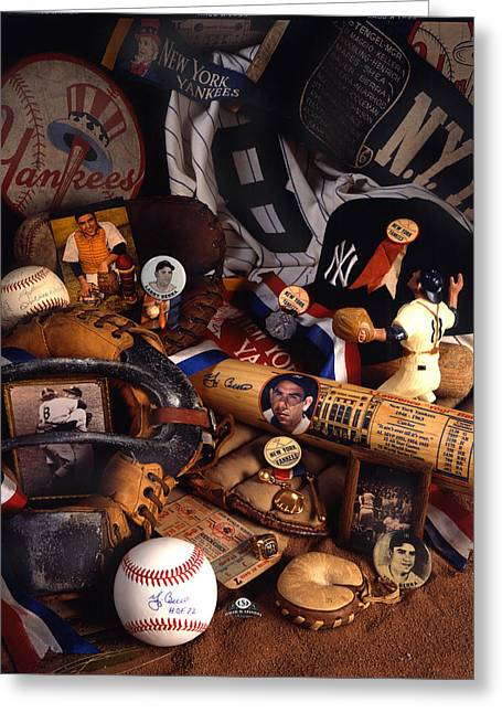 Autographed Baseball Greeting Cards - Yogi Berra Greeting Card by David M Spindel