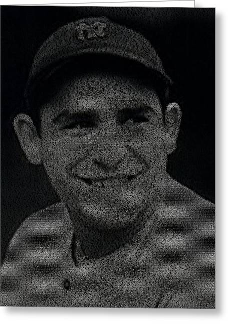 Yogi Berra Greeting Cards - Yogi Berra Quotes Mosaic Greeting Card by Paul Van Scott