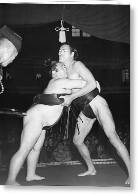 Yokozuna  Sumo Wrestler Greeting Card by Underwood Archives