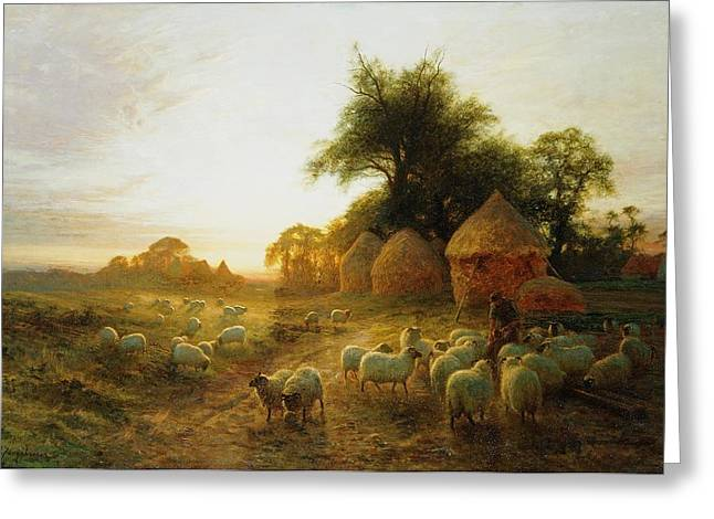 Farmers Field Greeting Cards - Yon Yellow Sunset Dying in the West Greeting Card by Joseph Farquharson