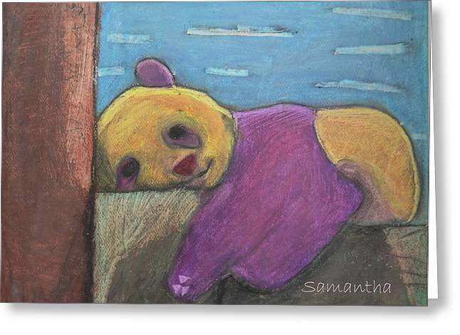 Mt Pastels Greeting Cards - Yonah the Sleeping Bear Greeting Card by Samantha Guthrie Murphy
